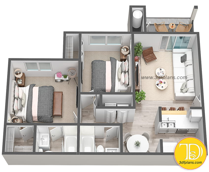2 bedroom 3d floor plan, 3d apartment, multifamily 3d, unit 3d, 2 bathrooms plan