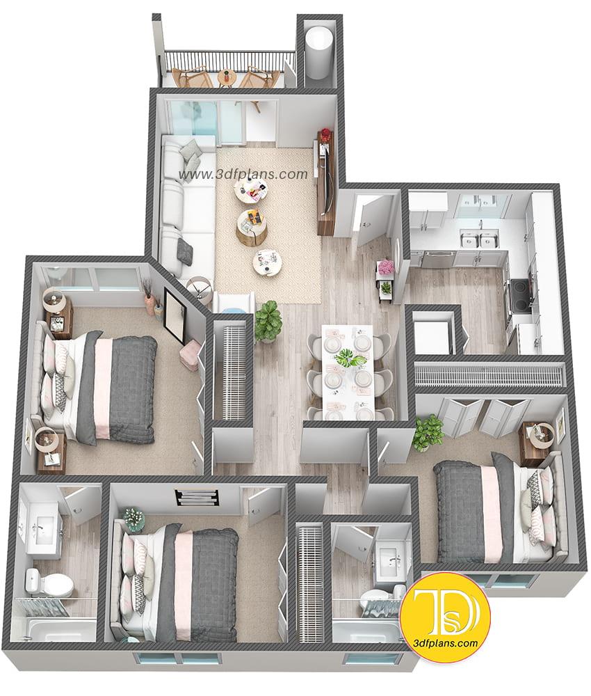 Property 3D Floor Plans - Cielo Boca • 3D Floor Plans