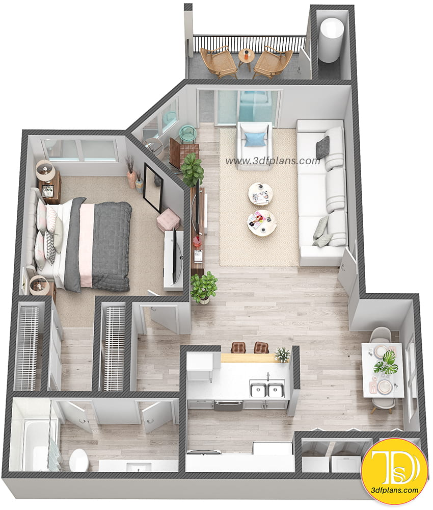 One bedroom multifamily apartment, one bedroom unit, 3d floor plan, multifamily 3d floor plan