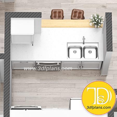 bar chairs, kitchen island 3d, kitchen decorative set,