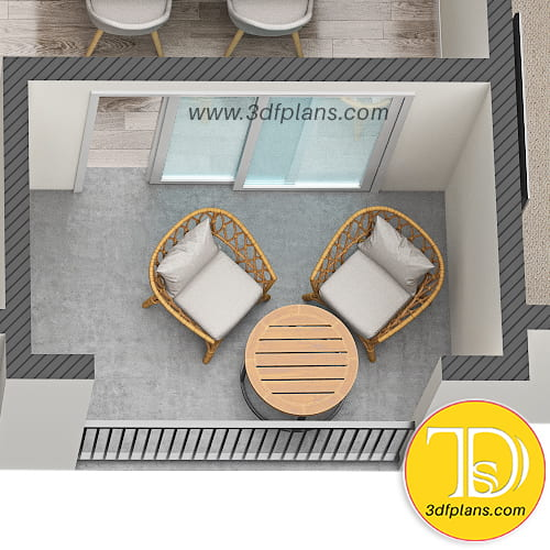 patio, balcony 3d, patio 3d floor plan, patio with table and chairs, Plan d'étage 3D