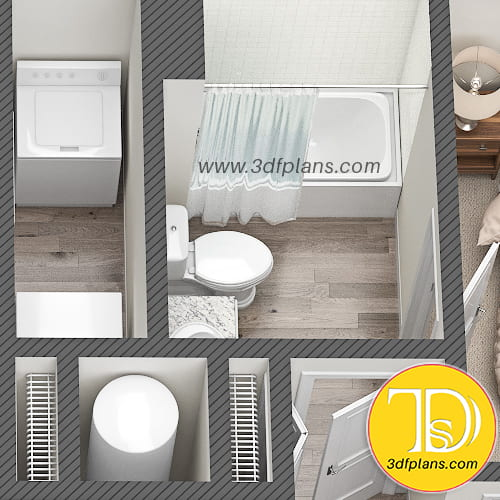 Bathroom, bathroom 3d floor plan,  loundry