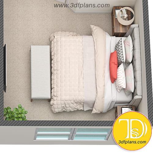 multifamily 3d floor plan, bedroom 3d, 3d floor plan, 3d bedroom, bedroom design, Plan d'étage 3D d'une chambre