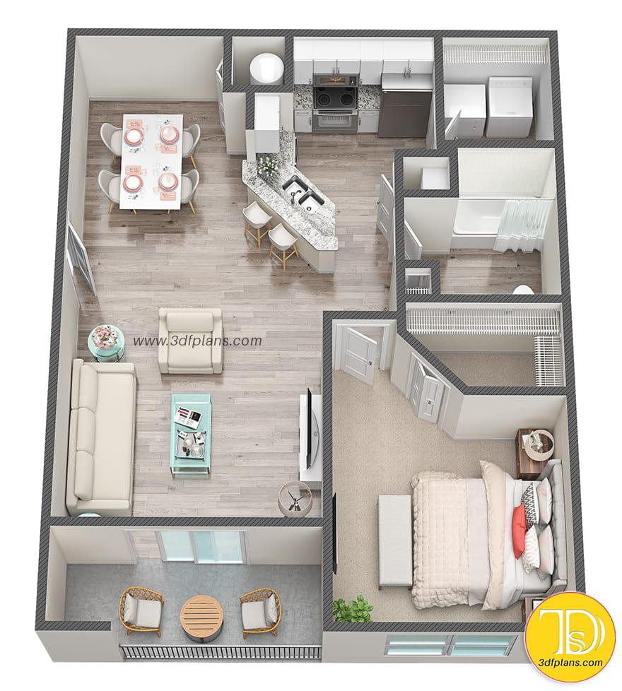One bedroom 3d floor plan, one bedroom apartment, 3d floor plan, 3D間取り図, 1ベッドルーム3Dフロアプラン, ein schlafzimmer 3d grundriss