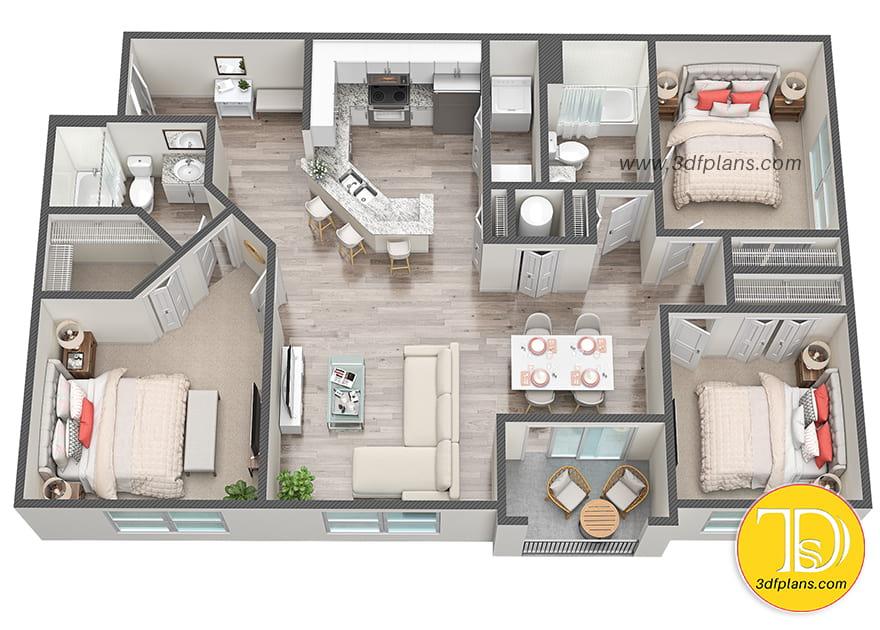 two bedrooms 3d floor plan, two bedrooms apartment, 3d floor plan, two bedrooms unit, 3d floorplan, apartment 3d plan, two bathrooms, ホーム3D間取り図, 3D Grundriss