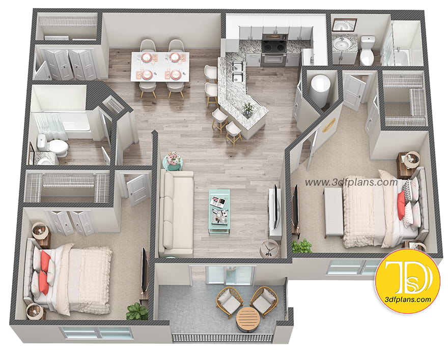 3d floor plan services, floor plan 3d,, 3d floor plan rendering, アパート3D間取り図