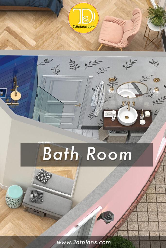 very small bathroom design, bathroom ideas, bathroom 3d floor plan, 2 colors bathroom, bathroom with accent tile, bathroom with wallpapers, bathroom ideas, bathroom with round mirror on the wall, tiny bathroom design, 3d plans, 3d apartment floor plans
