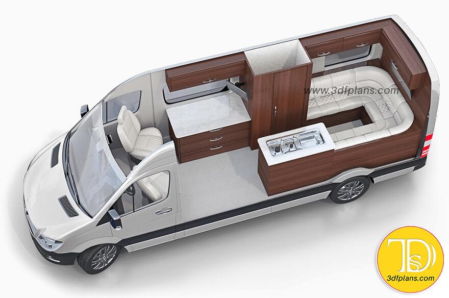 Truck camper, truck, transit van layout, van layout, van, best recreational vehicle layouts, motor home layout, truck camper 3d layout