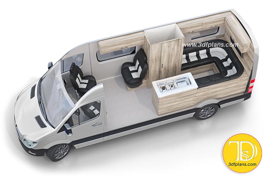 Van Layout, what is recreational vehicle, luxury van recreational vehicle, camper trailer floor plan, Mercedes Benz rv 3d floor plan, Camper layout with bed, Skoolies 3d rendering