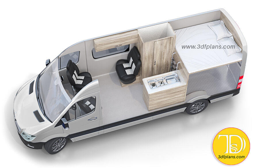 Motor home layout, motor home layout design, rv layout, 4 berth camper van layout design, campervan layout, small rv layout, High-Top Conversion Vans