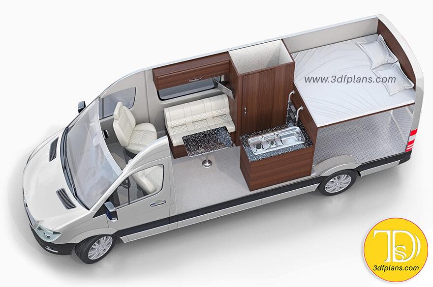 Camper 3d floor plan, Van 3d floor plan, small camper layout, vehicle 3d floor plan, Mercedes sprinter camper layout, Trailer 3D Layouts, Sprinter vans