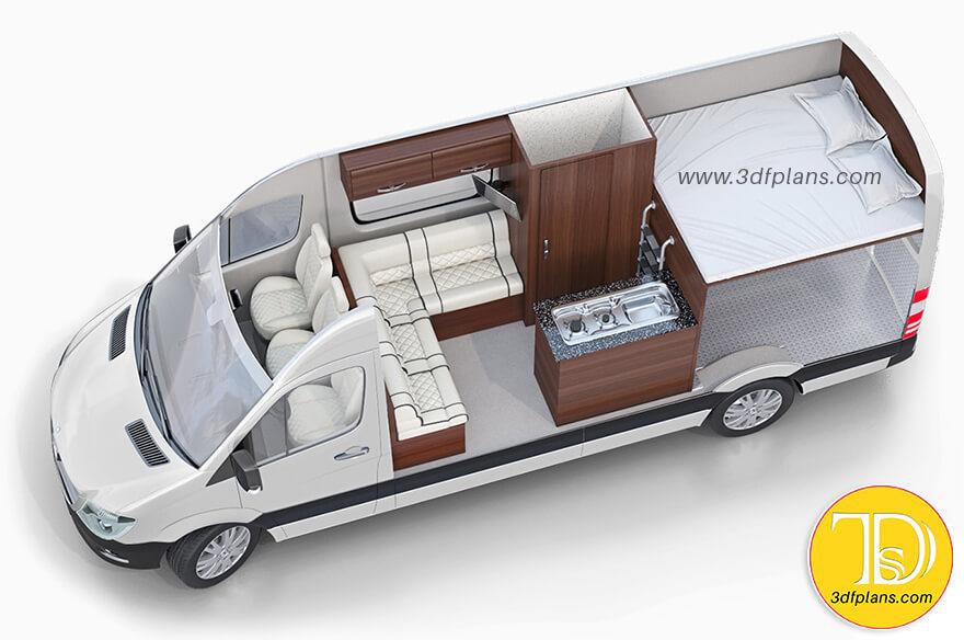 Camper, camper Van, 4 person van conversion layout, recreational vehicle, recreational van, motor home, Caravan 3D Floor Plan Design, Volkswagen campers