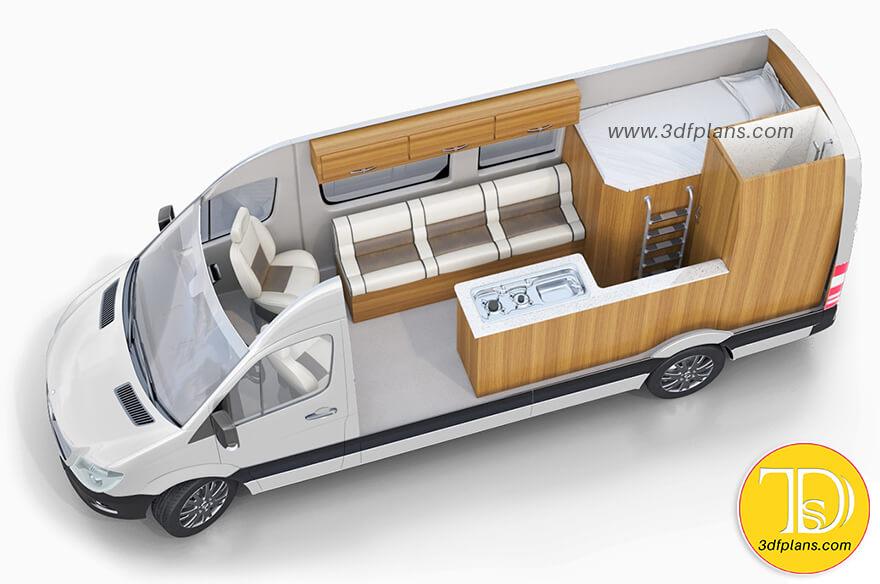 RV interior design layout, Mercedes Benz camper layout, Mercedes Benz rv 3d floor plan, camper trailer floor plan, 3d layout, cargo vans 3d design