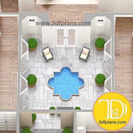 residence inner courtyard, 3d yard, 3d courtyard, courtyard fountain 3d, 3d residence,