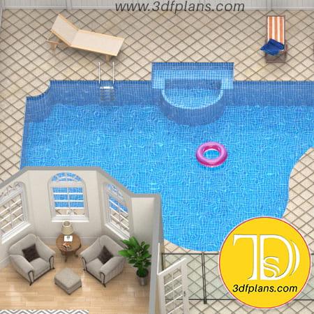 3d pool, backyard pool, residence 3d pool, residence courtyard, villa pool patio