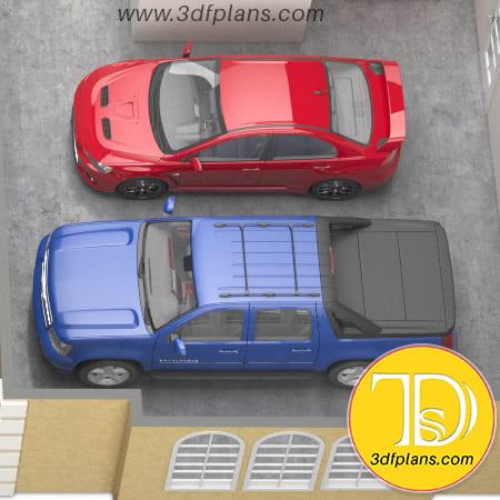Garage for two cars, mension garage, residence 3d garage, red car, blue pickup