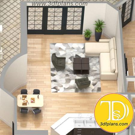 Living room 3d design, villa living room 3d, residence black door, villa dinning table