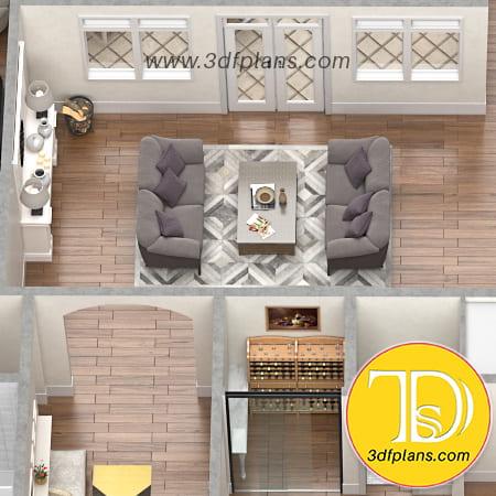 residence vine room, vine room 3d, vine room glass doors, living room with carpet