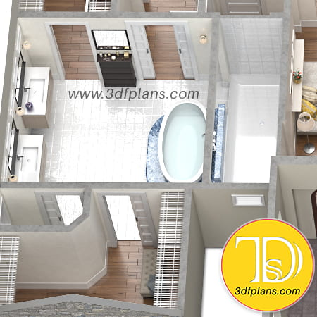 Bathroom, residence master bathroom, bathroom 3d, master bathroom 3d, oval 3d bath, oval bath, white floor tile