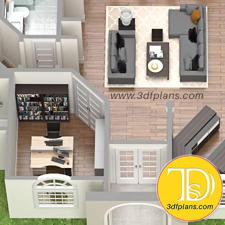 Study, cabinet, villa study with book shelf, residence classic windows