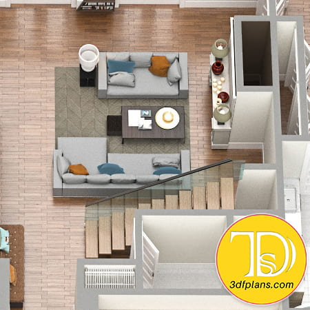 Fireplace, living room with couch, stairs, villa stairs 3d, resicence fireplace 3d