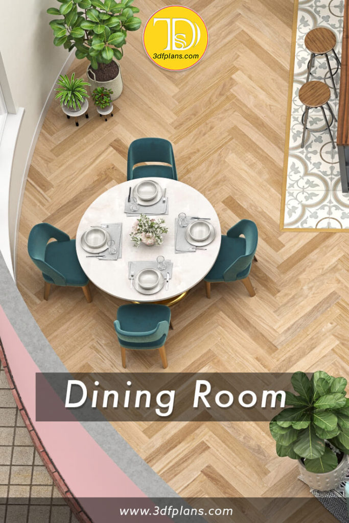 Dining room 3d floor plan, dining room renovation, dining room 3d design, dining room with round table and 4 chairs, accent dining chairs, small dining room design, dining room decoration, 3d floorplan