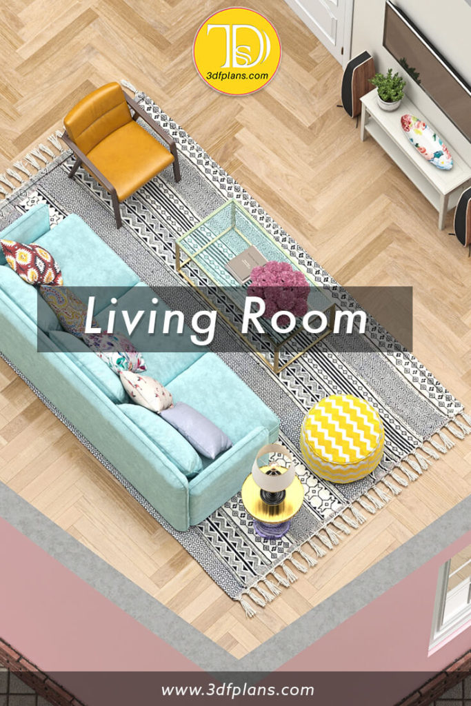 living room 3d floor plan, living room design, living room furniture, living room planning, side table, modern living room with couch and side tables, living room with entertainment center, living room decor, living room carpet, living room furniture set