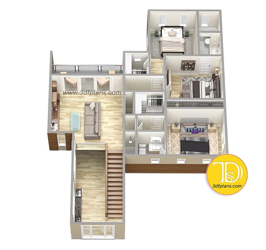 2nd floor 3d floor plan, 2nd floor patio, 2nd floor living room, 3 wardrobes, 2nd floor  3 bedrooms