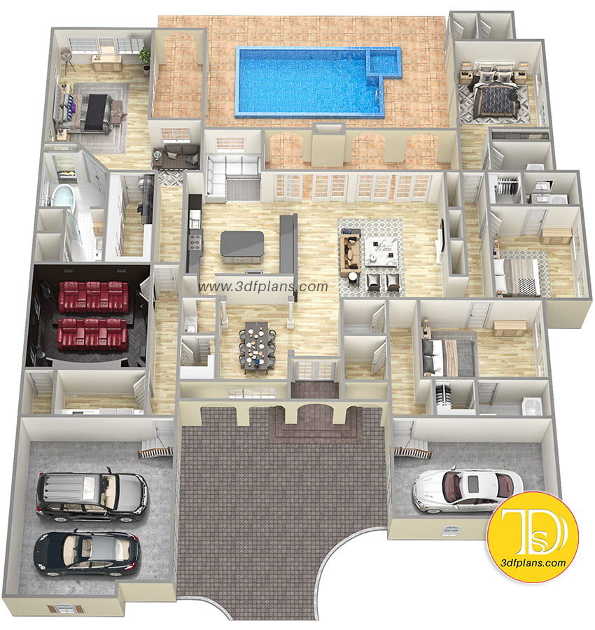 4 bedrooms mansion with luxury home theater,  baths, home cinema, pool, 3d rendering, 2 garages, bath with window
