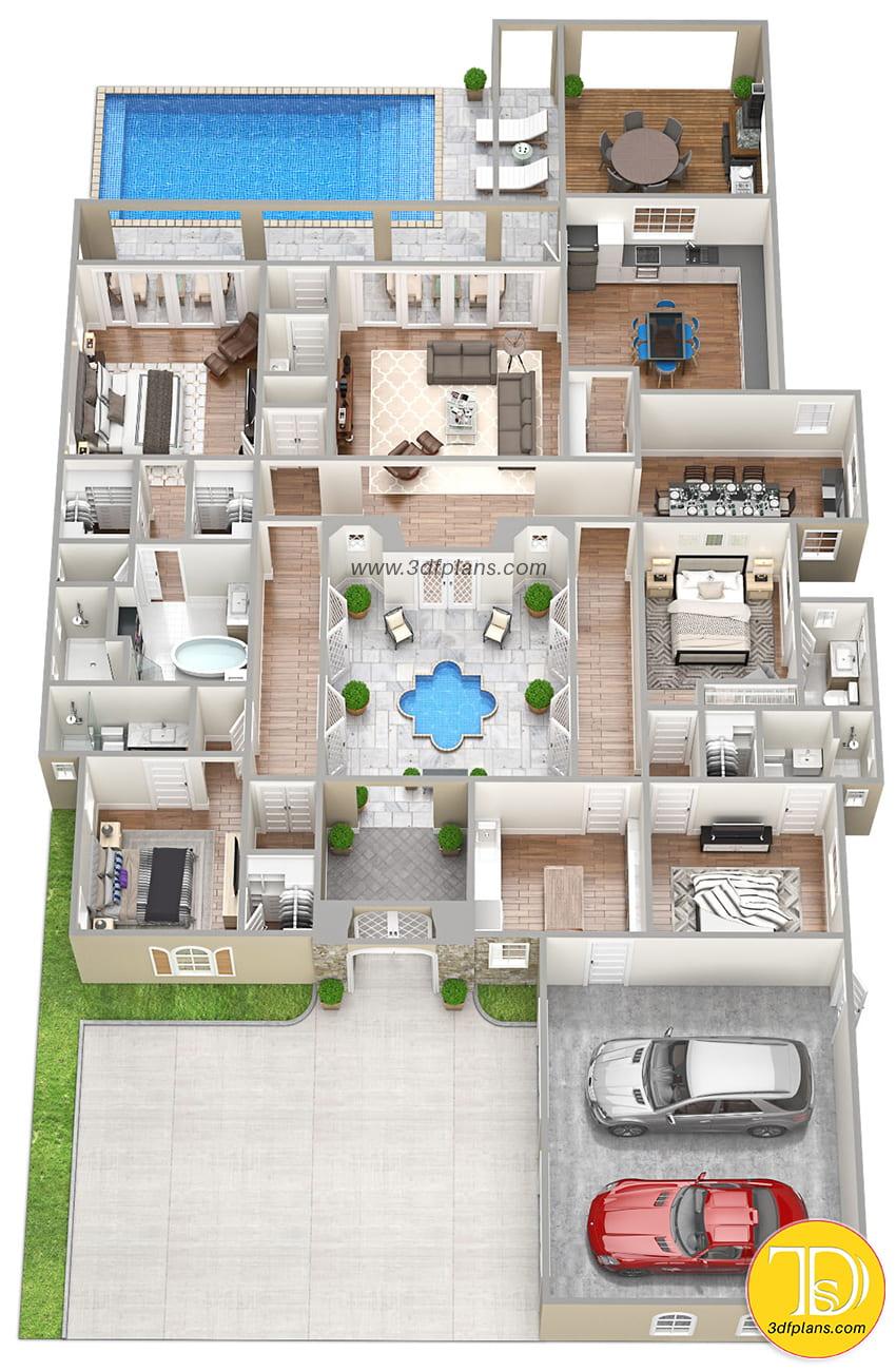 pool patio 3d, bathroom 3d plan, garage for 2 cars, inner garden