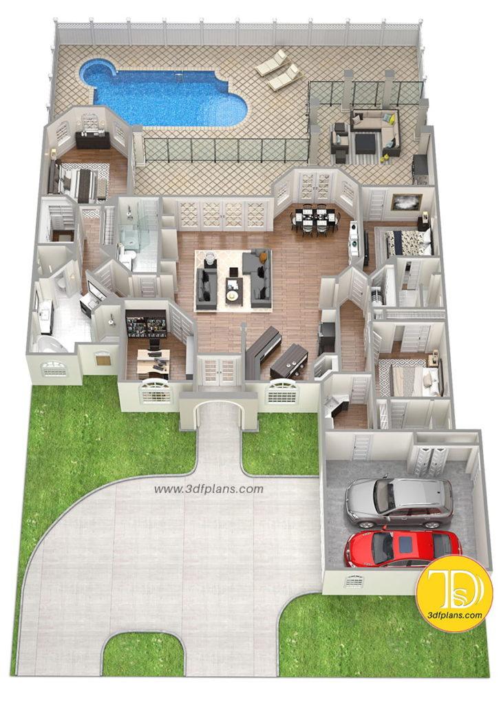 3 bedrooms, 4 bathrooms, mansion, mansion 3d, garage for 2 cars