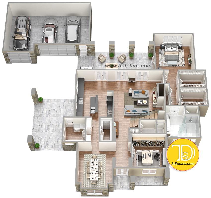 back yard patio, concrete floor, garage 3d, residential plan, residence 3d