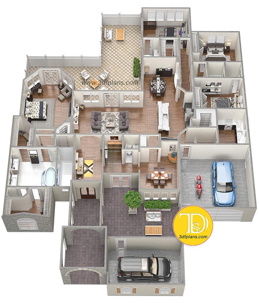 4 bedroom villa, 4.5 bathroom villa, residence 3d