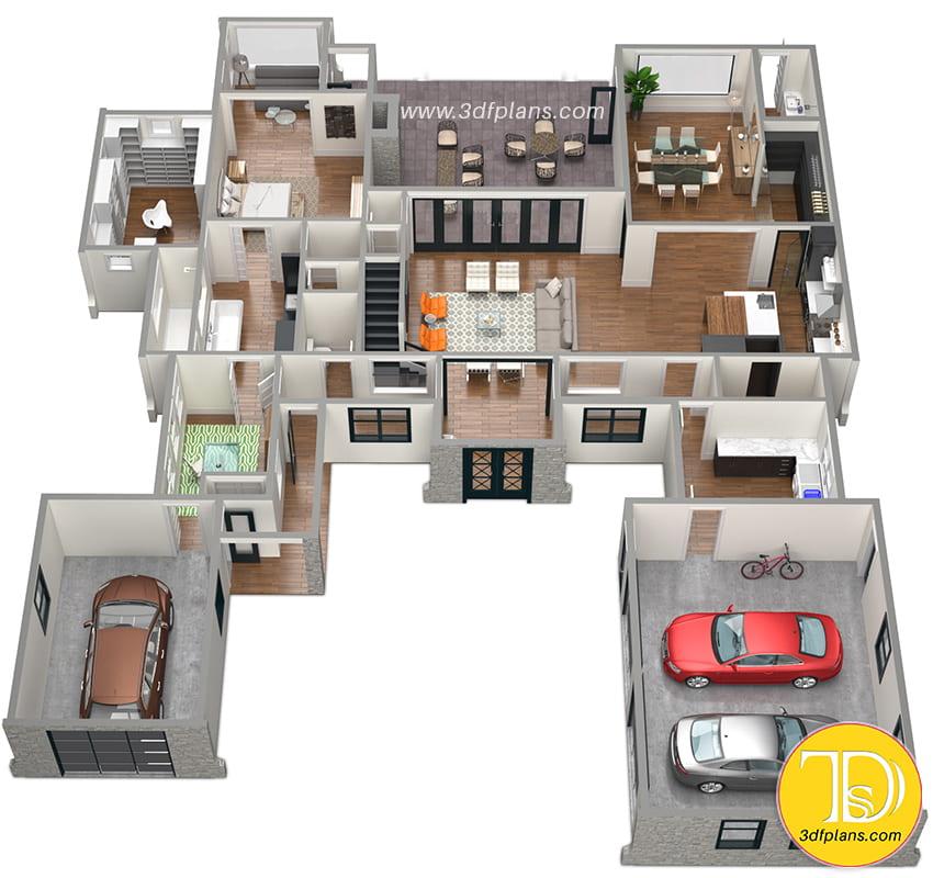 2 story home, living area 3d  floor plan, media room, interior 3d design