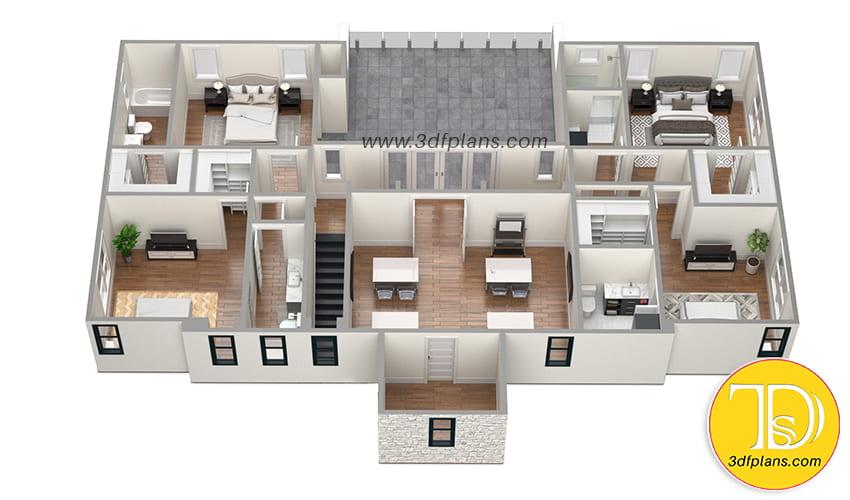 Residential 3d Floor Plans For Sawyer Sound Property 3d Floor Plans