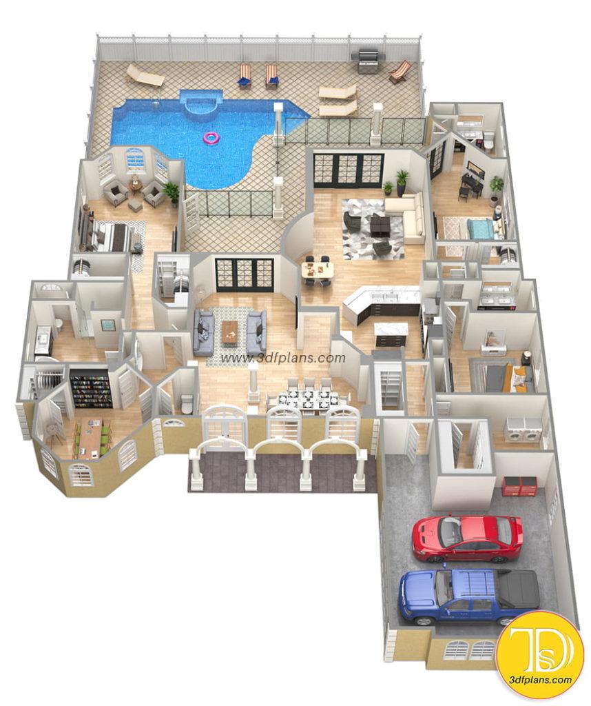 Residential 3d floor plan, villa 3d