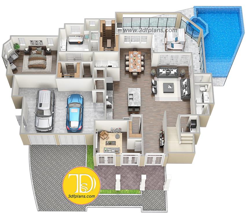 residence 1st floor 3d floor plan, 2-story mension
