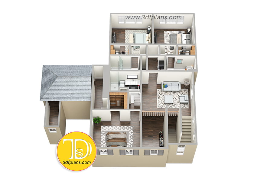 Villa 2nd floor, 2nd floor 3d plan, 3 bedrooms 2nd floor