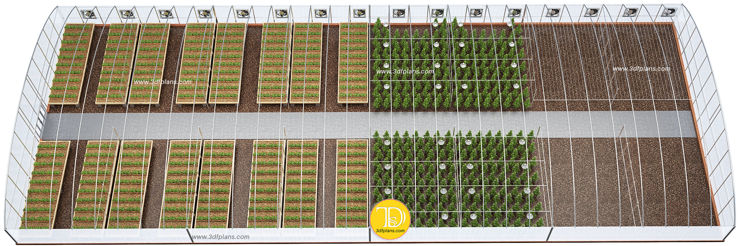 Cannabis greenhouse, greenhouse 3d floor plan