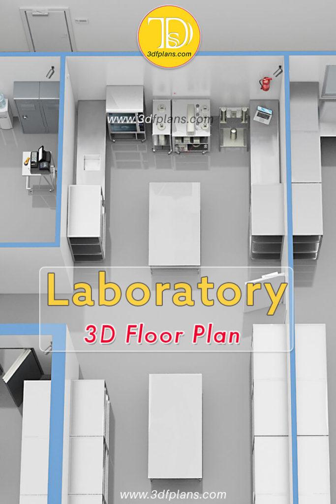 industrial 3d floor plan, lab plan, laboratory 3d, lab 3d floor plan