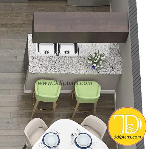 dining room plan, dining 3d floor plan, bar chairs in the dining room, green bar chairs