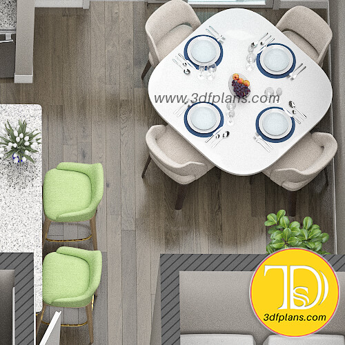 Square table for 4 person, dining 3d planning, table with round edges