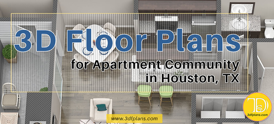 Texas apartments 3d floor plans, Houston property 3d floor plans