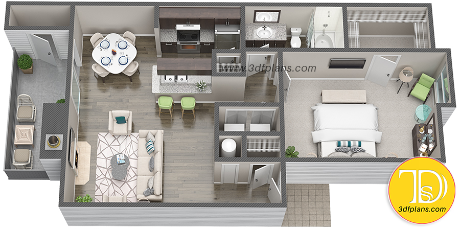 3D floor plan, one bedroom plan, one bedroom Houston, apartment at Houston, texas property search