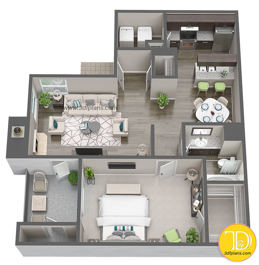 One bedroom apartment at Houston Texas, Texas property, texas peoperty plan, twxas apartment 3d floor plan