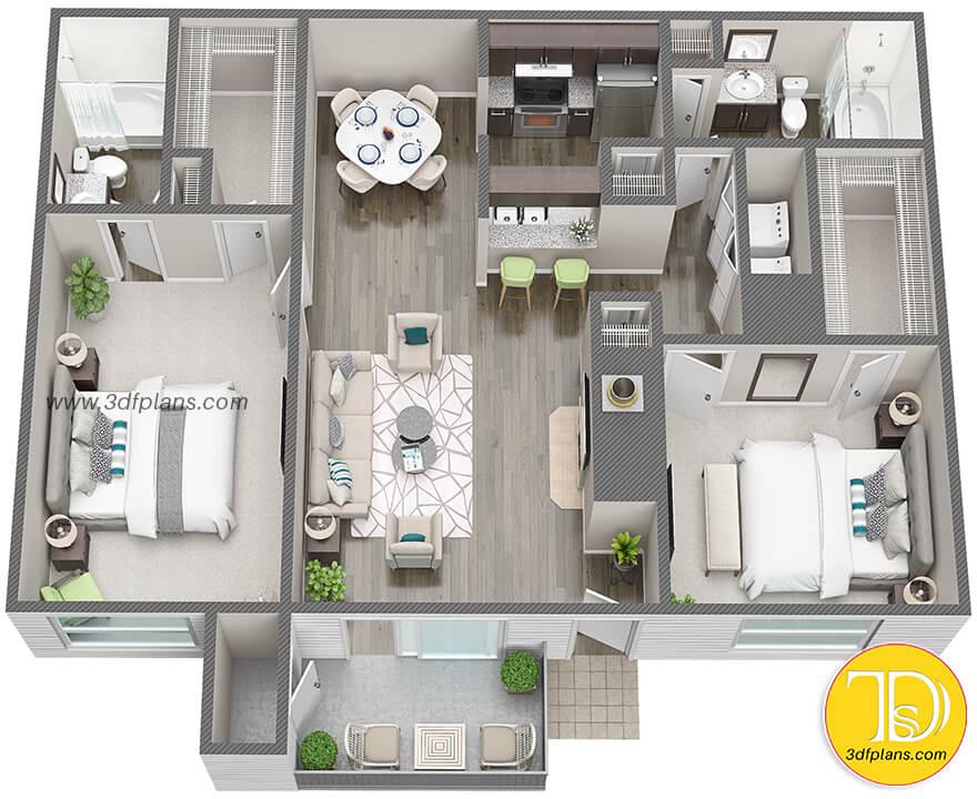 Two bedroom 3d floor plan, floorplan 3d, 3d plan, Houston apartment, Houston property, Houston 3d floor plan