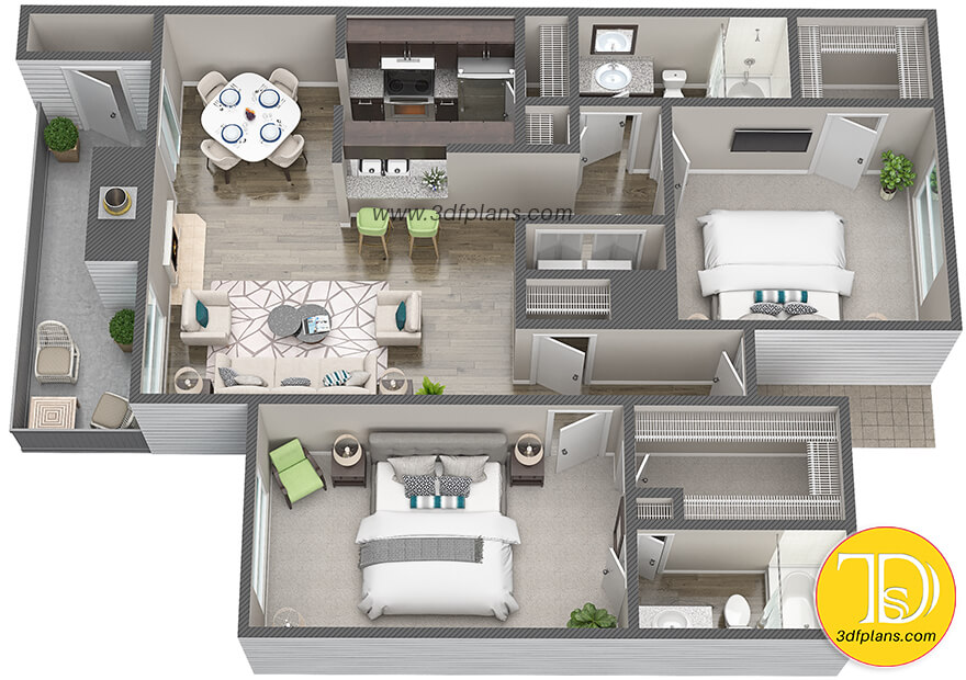 Apartment 3d floor plan, home layout, home 3d, Houston house for rent, Texas real estate, Texas 3d floor plans