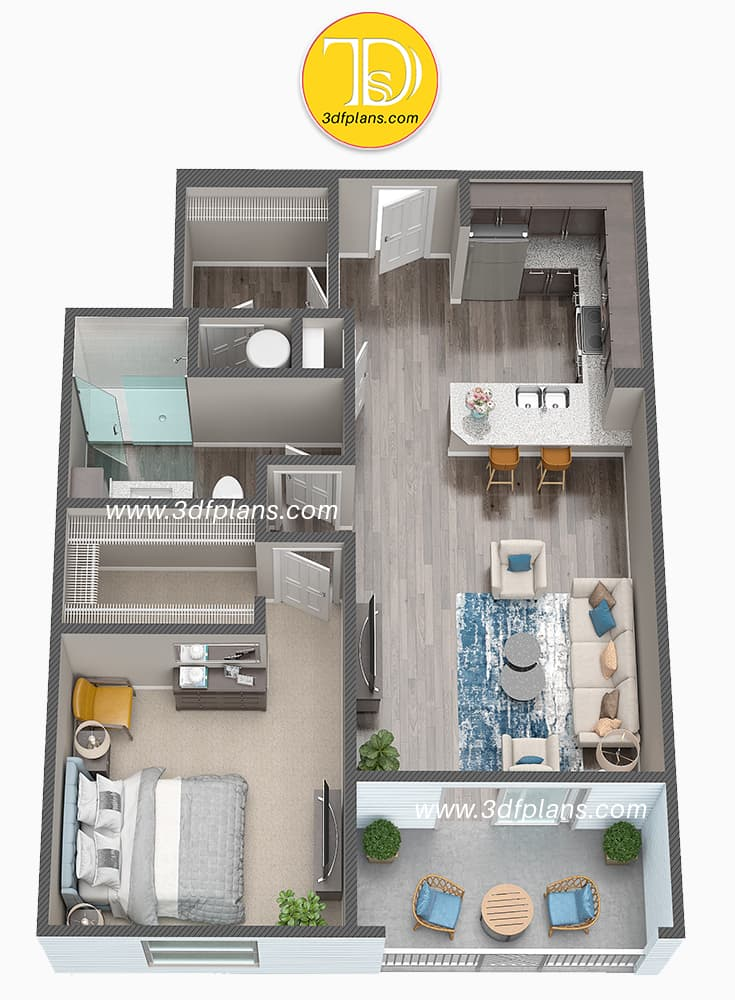 furnished apartment 3d plan, furnished 3d plan, floor plan with furniture, completely furnished apartment 3d plan