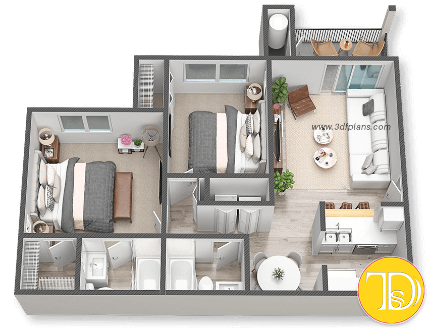 Multifamily 3D Floor Plan, Multifamily 3D layout, multifamily home 3d