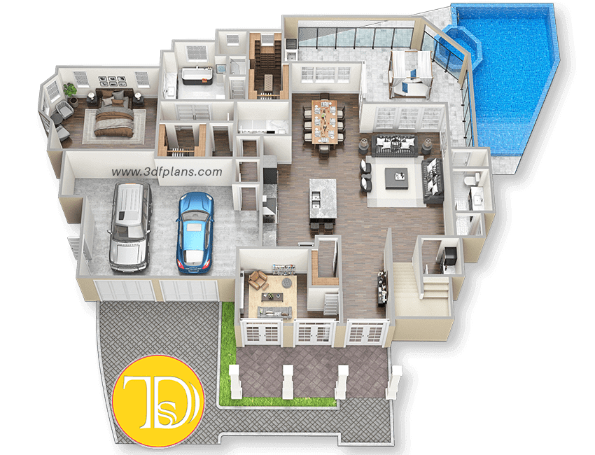residential 3D Floor Plan, residential 3D, residential home 3d, villa 3d, villa 3d floor plan, mansion 3d floor plan, mansion 3d layout, mansion 3d